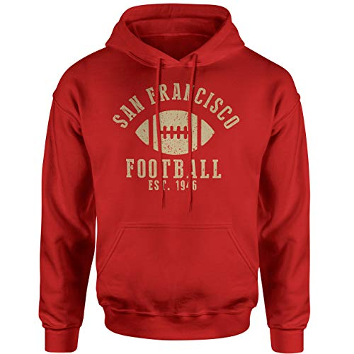 INKpressionists San Francisco Football Est. 1946 Vintage Retro Style Classic Adult Hoodie (Red, 4X)