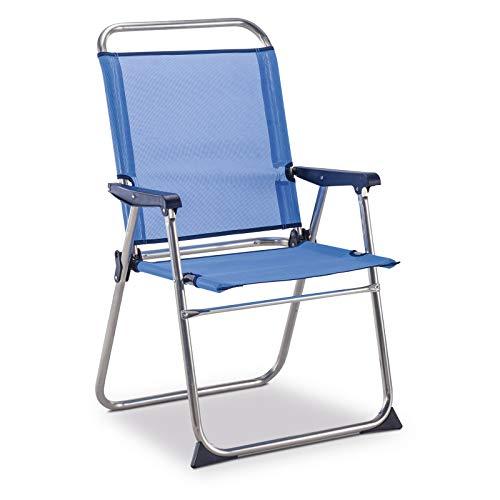 Solenny 50001072725236 Seefahrtsstuhl mit hoher Rückenlehne, Blau/Weiß
