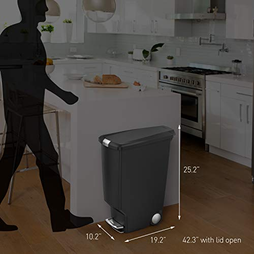 simplehuman 40 Liter / 10.6 Gallon Slim Kitchen Step Trash Can With Secure Slide Lock, Grey Plastic
