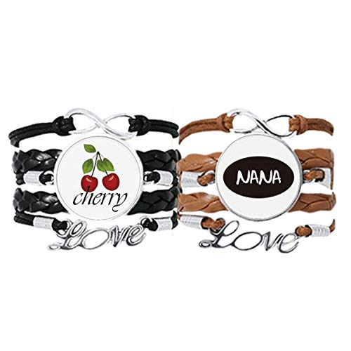 Grandma Letters Present Pattern Best Wishes Bracelet Hand Strap Leather Rope Cherry Love Wristband Double Set