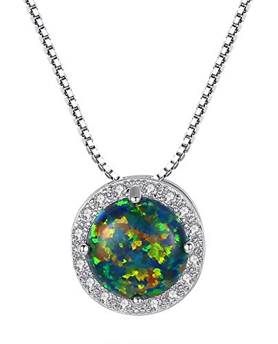 KnBob 925 Sterling Silver Necklace for Women Girls Round Shape White Created Opal Classic Pendant Necklace