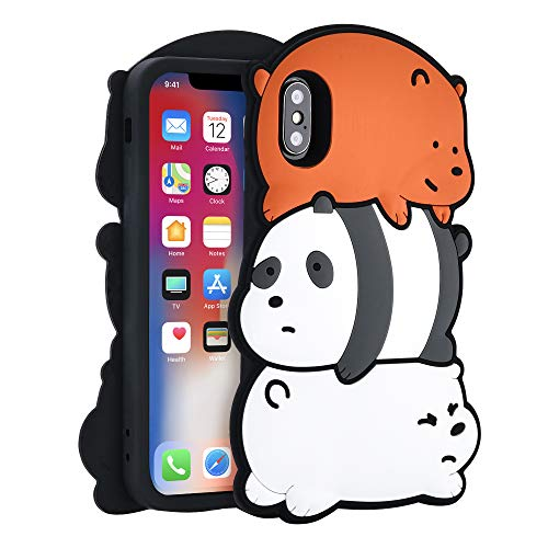 TopSZ Bears Case for iPhone Xs/X 5.8 inch,Silicone 3D Cartoon Hero Animal Cover,Kids Girls Teens Boys Man Animated Cool Fun Cute Kawaii Soft Rubber Funny Unique Character Cases for iPhone Xs/X