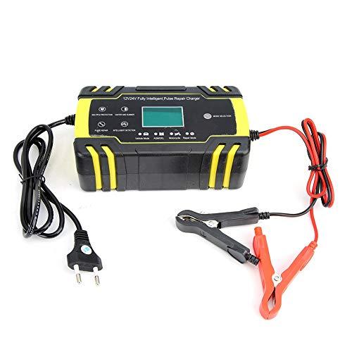 Auto Batterie Ladegerät, 100-240V Universal Motorradschutz Ladegerät Reparatur Impuls Ladegerät mit LCD-Anzeige(EU)
