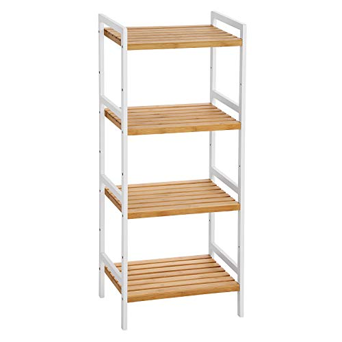 SONGMICS Estantería de bambú para cocina, baño, librería, estantería de pie con 4 estantes, 45 x 31,5 x 111 cm, para baño, cocina, salón, dormitorio, balcón, color blanco natural BCB74WN