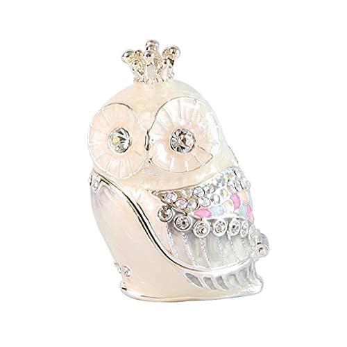 YQLHJ Caja de joyería, Caja de Almacenamiento de Joyas de pequeña Corona de búho, Caja de Regalo para Pendientes de Pernos Anillos Collares Pulseras (Color : A)