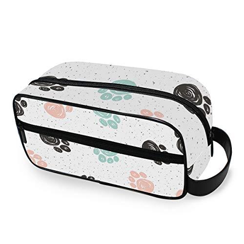 Opbergen make-up tas toilettas leuke gereedschappen cosmetische trekkoffer zwart blauw roze abstract hondenpootbaan reis draagbaar