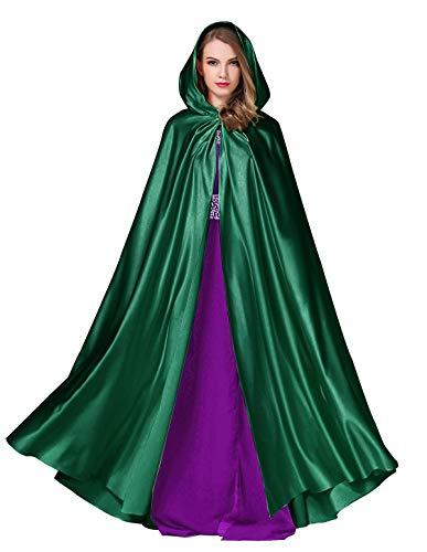 BEAUTELICATE Cape Damen Umhang Mit Kapuze Mittelalter Mantel Satin Lang Halloween kostüm Für Hochzeit Braut Abendkleid Brautkleid