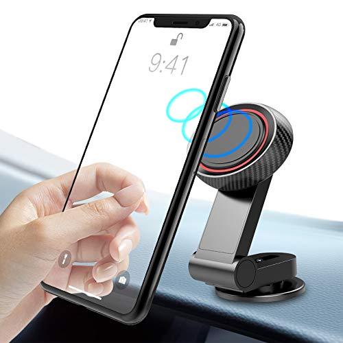 TINICR Auto Magnet Handyhalterung, Universelle Magnetische Handy Autohalterung mit Klebrige Basis, KFZ Armaturenbrett Handyhalter 360/90 Grad Einstellbar Handy Halterung für Alle Smartphones - Schwarz