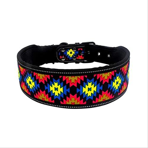 AFSDF Collar de Cuello de Perro de Nylon Reflectante Moda imprimió Collares de Mascotas Ajustables para Perros medianos Grandes