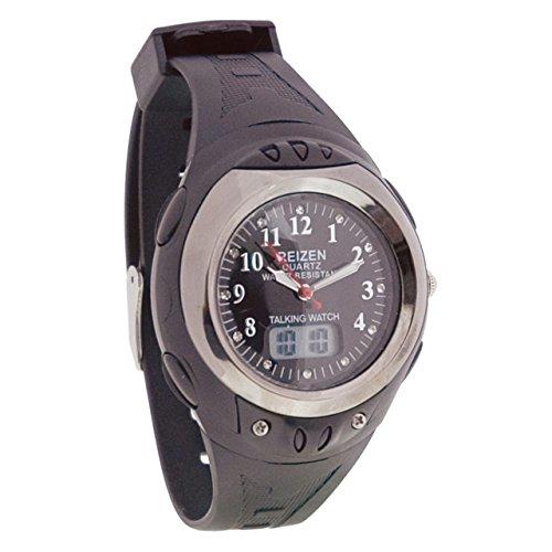 Reizen Digital Analog Water-Resistant Talking Watch- Black