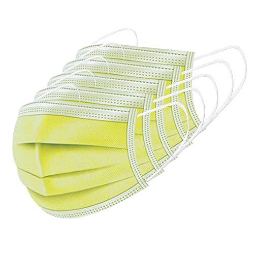 Edaren 50Pcs/Pack Disposable Face Mask 3-Ply Mouth Mask Ear Loop Yellow