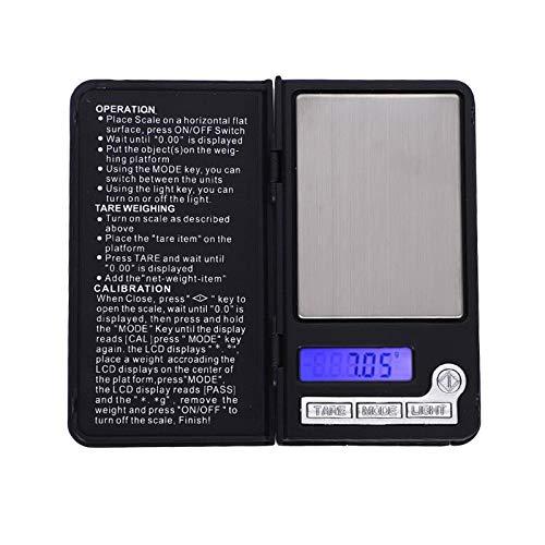 Milageto Báscula de gramos, báscula de bolsillo Digital de 100g/0,01g, minibáscula de joyería, báscula de cocina, conversión de 6 unidades, pantalla LCD,