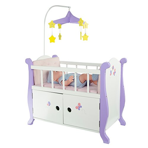 Olivia's Little World Baby Doll Wooden Cot Bed Crib & Storage   Doll Furniture TD-0206A