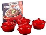Le Creuset Stoneware Set of 4 Mini Cocottes with Cookbook, 8 oz. each,...