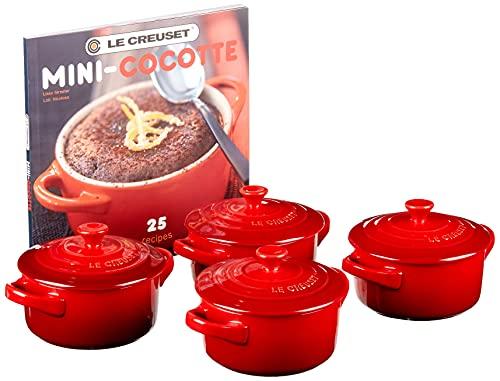 Le Creuset Stoneware Set of 4 Mini Cocottes with Cookbook, 8 oz. each, Cerise
