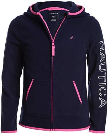 Nautica Girls School Uniform Polar Fleece Zip up Hooded Jacket Navy Large 12 14 product image