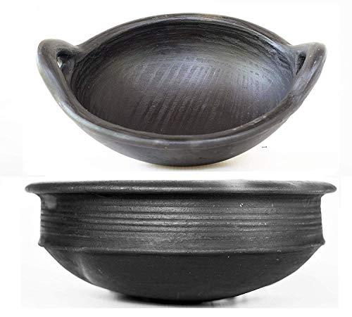Odishabazaar Handmade Pottery Earthen Kadai/Clay Pots Combo for Cooking Pre-Seasoned - 1 and 2 L Gas Stove and Microwave Unglazed - Black