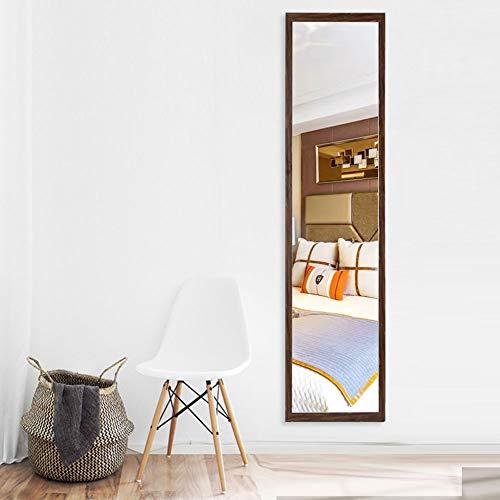 AUFHELLEN Wandspiegel 120x30cm Großer Spiegel mit Braun Rahmen HD Ganzkörperspiegel mit Haken und Rückwand für Tür, Wohn-, Schlaf- und Ankleidezimmer (Braun)