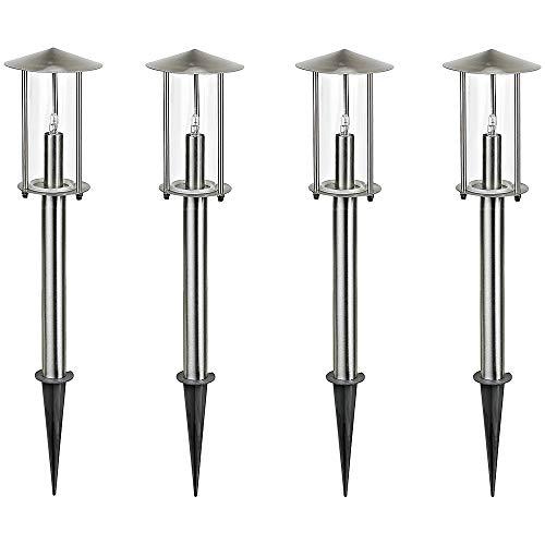 LED-Aussen-Garten-Leuchte-Lampe VICO 4er Set mit Erdspieß Edelstahl/Glas Wege-Treppen-Leuchte-Lampe G4 LED 1,5W(A+)
