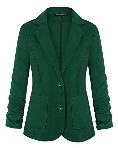 Unifizz Womens Blazers 3/4 Sleeve Casual Work Office Blazer Pockets Suit Jacket (X-Large, Button Front - Deep Green)