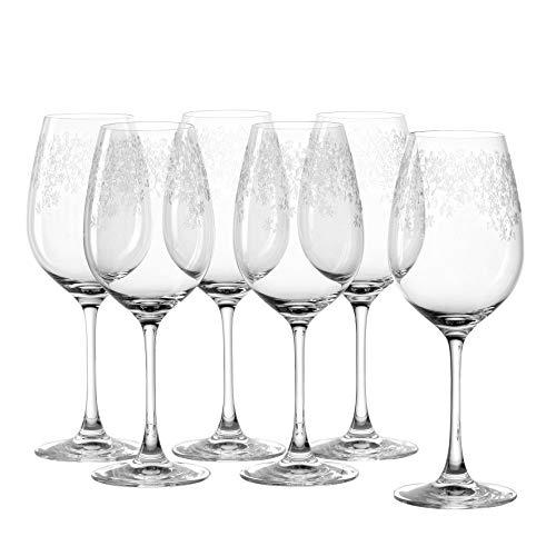 Leonardo Chateau Weißwein-Gläser, 6er Set, spülmaschinenfeste Wein-Gläser, Wein-Kelch mit gezogenem Stiel, Wein-Glas mit Gravur, 410 ml, 035301