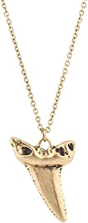 Xmas Christmas Holiday Burnished Gold Tone Casted Shark Tooth Pendant Necklace
