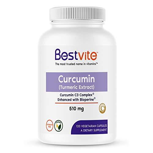Curcumin 510mg (Turmeric)(120 Vegetarian Capsules) with Curcumin C3 Complex & Bioperine - Standardized to 95% Curcuminoids - No Stearates - No Fillers - Vegan - Non GMO - Gluten Free