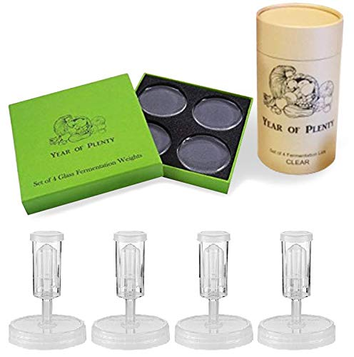 Year of Plenty Fermenting Kit - Set of 4 Fermentation Weights and 4 Clear Airlock Lids for Making Sauerkraut in Wide Mouth Mason Jars (Clear Lids)