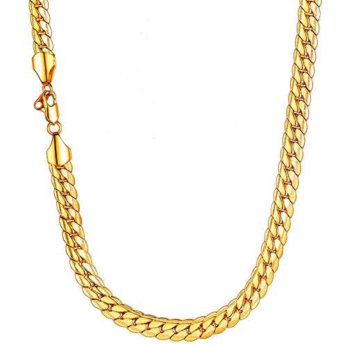U7 Herren Erbskette Halskette 9 mm breit Rundpanzerkette - Mesh Englische Collier Gelbgold überzogen Gliederkette für Männer Jungen 66cm lang, Gold