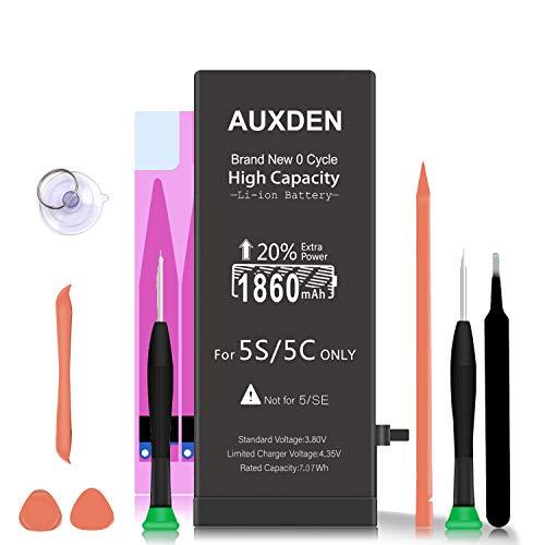 AUXDEN 1860mAh Batería Compatible para iPhone 5S/5C de Alta Capacidad 0 Ciclo con Kits de Herramientas de reparación, Cinta Adhesiva