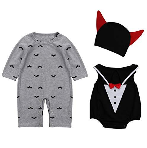Le SSara Bebé diablo & vampiro mameluco de Halloween recién nacido Traje Trajes 3pcs (90, B-gris)