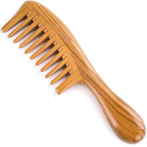 Pente de cabelo para cabelo cacheado – pente de desembaraçamento de madeira de dentes amplos Breezelike – 20 cm tamanho grande, sem pente de sândalo natural estático para mulheres e homens