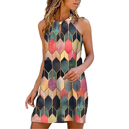 Womens Dresses Summer Casual Metal Halter Neck Diamond Print Sleeveless...