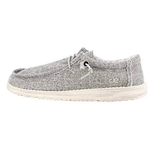 Hey Dude Men's Wally Linen Iron, Size 10 | Men's Shoes | Men's Lace Up Loafers | Comfortable & Light-Weight