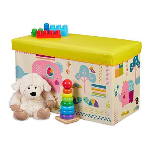 Relaxdays Pouf per Bambini, Contenitore per Giocattoli, Pieghevole, per Bimbi e Bimbe, Salvaspazio, Animali, colorato