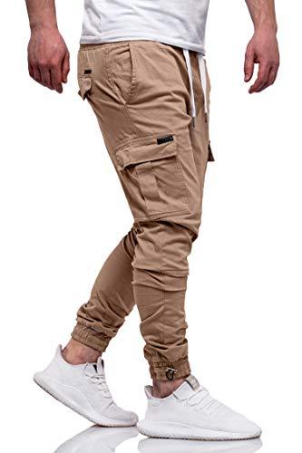 Rello & Reese Herren Cargo Jogger Chinohose Carhohose Chino Hose Jeans JN-3888 [Beige, W31]