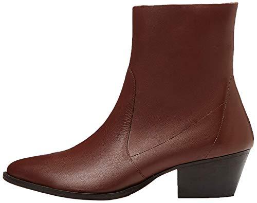 find. Unlined Western Leather Botines, Marrón Brown, 38 EU