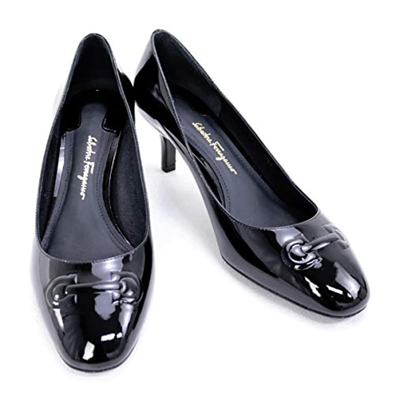 [サルヴァトーレ フェラガモ] 靴 レディース ガンチーニ パンプス エナメルブラック (BRONI 55 0680103 NERO) [並行輸入品]