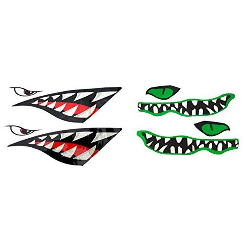 SM SunniMix (Paquete de 4 Piezas Calcomanía de Tiburón para Decoración de Bote Inflable de Canoa de Kayak