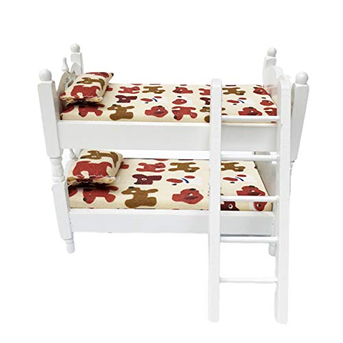 Galand Bunk Bed,1/12 Mini Bunk Bed Children Bedroom Model Pretend Play Toys Dollhouse Accessory (4.72' x 5.47' x 3.07') B