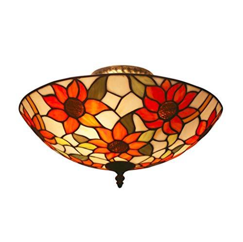 JYTBD Lámpara de techo de estilo Tiffany, semiempotrable de girasol, vidriera, para dormitorio, salón, decoración vintage (tamaño de 50,8 cm)