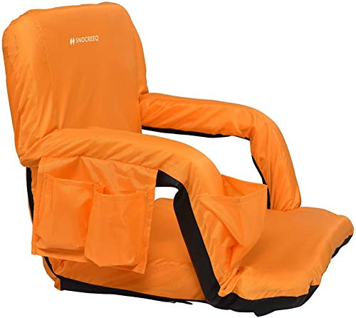 Snocreeq Portable Reclining Stadium seat Folding Sport Chair for Bleachers Benches Cushion Padded Back&armrests, Slip-&Water-Resistant, Easy-Carry Straps. (Orange, Regular)