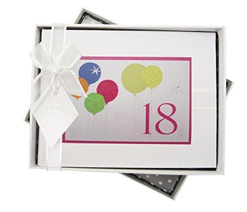 White Cotton Cards Carte d'anniversaire 18 Ans Album avec Paillettes Fluo Ballons, Blanc, Petit