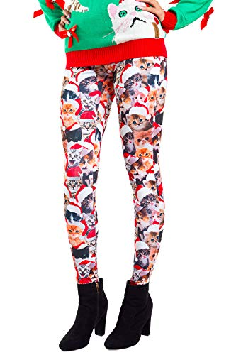 Women's Christmas Cat Leggings Holiday Pants (Large) Red