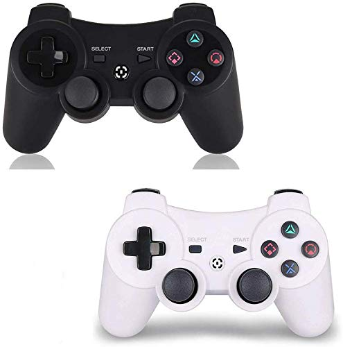 PS3 Controller Wireless 2 Pack - for Dualshock 3 Remote for Playstation 3,DS3 Joystick with Sixaxis (White+Black)