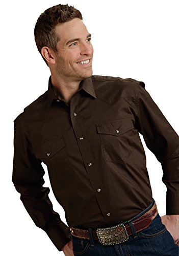 Roper Men's Amarillo Collection Solid Long Sleeve Western Shirt Brown Large