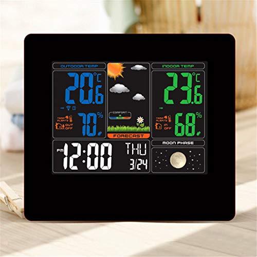 FENGCLOCK Wetterstation LCD Elektronische Uhr, Innen/Außentemperatur Temperatur Luftfeuchtigkeit-Piktogramm Wetteruhr Multifunktions Wettervorhersage Wecker,Moonphase