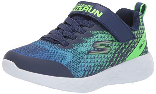 Skechers Boys' GO Run 600-BAXTUX Trainers, Blue (Navy Mesh/Navy Synthetic/Lime Trim Nvlm), 9.5 UK (27 EU)