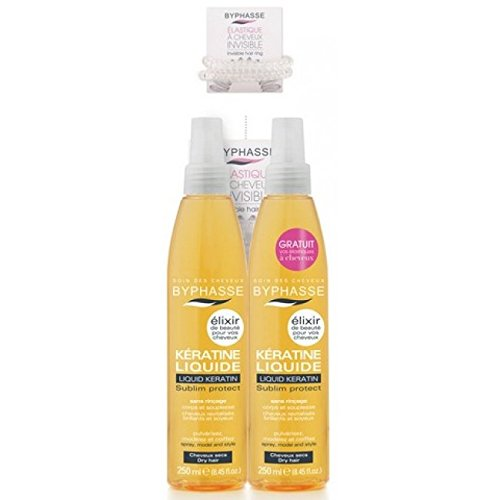 Byphasse - Lot de 2 Spray de Kératine Liquide - Élixir de Beauté - Protecteur Chaleur Cheveux (Lot de 2 X 250 Ml + 1 Elastique Anti Casse Offert))