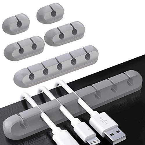 6 Stück Kabelhalter Kabelclips, Kabel Kabelmanagement Selbstklebender Halter für USB-Ladekabel/Netzkabel/TV-Kabel/Mauskabel PC Office Home - Grau